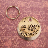 Chipped VW campervan camping trees mountains scenery dog cat pet tag