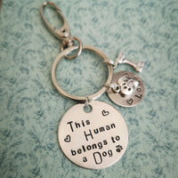 This Human belongs to dog cat keyring keychain
