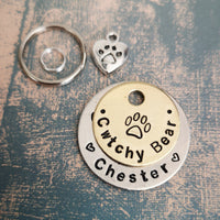 SMALLER TAGS - stamped paw print - puppy cat kitten dog cat pet tag #PoshTags