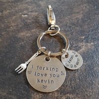I forking love you keyring keychain fork anniversary wedding gift love