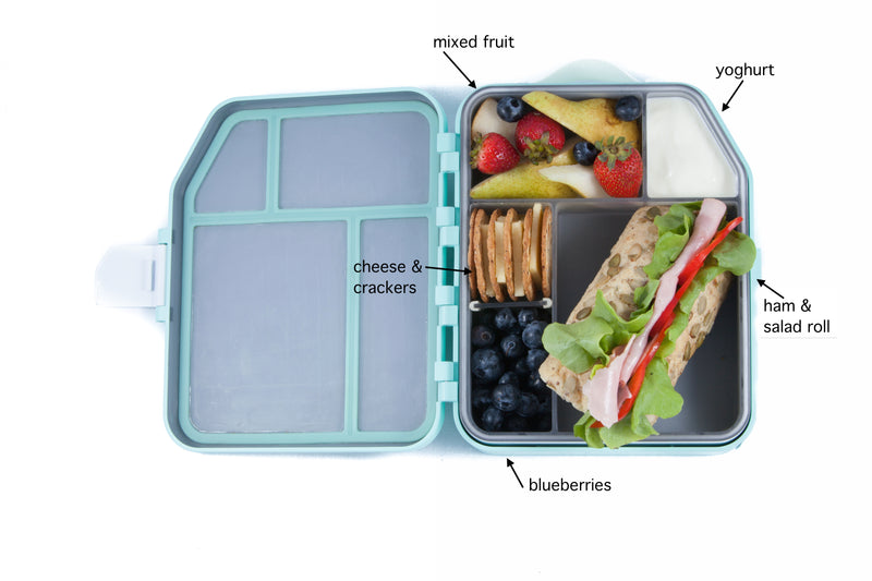 A colourful lunchbox is a healthy lunchbox. Include a serve of dairy, two serves of fruit, a serve of grains, protein and veges. Try a turkey & salad wholemeal roll, yoghurt, mixed fruit, cheese and crackers and a side of blueberries. Colourful & healthy