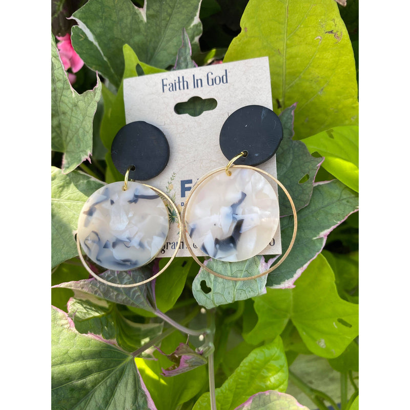 Medium Handmade Mixed Media Clay Earrings