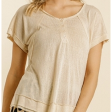 Melody Button Front Short Sleeve Raw Edge Button Detail Top