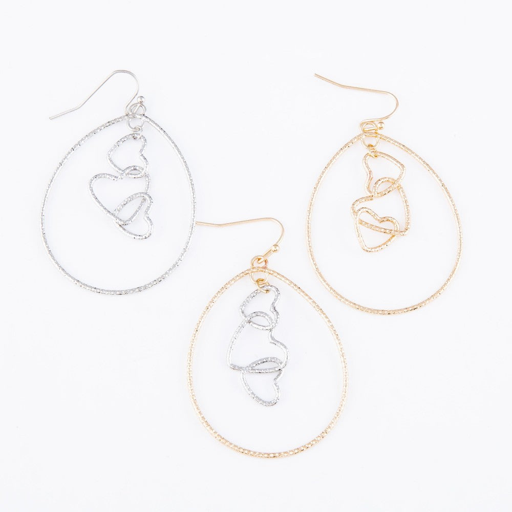 Pomina Two Tone Brass Heart Nested Teardrop Earrings