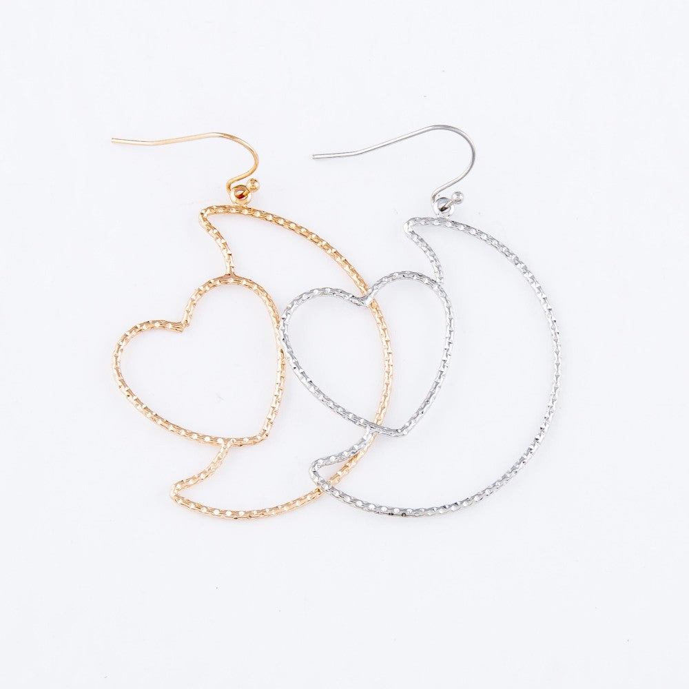 Pomina Heart Nested Moon Drop Earrings