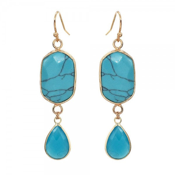 Avant Semi Precious Natural Stone Teardrop Earrings