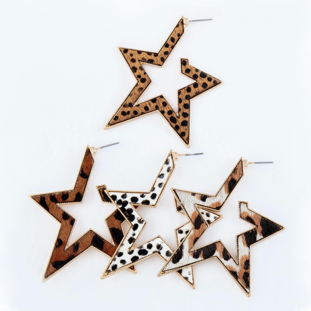 Influence Metal Encased Leather Star Hoop Earrings