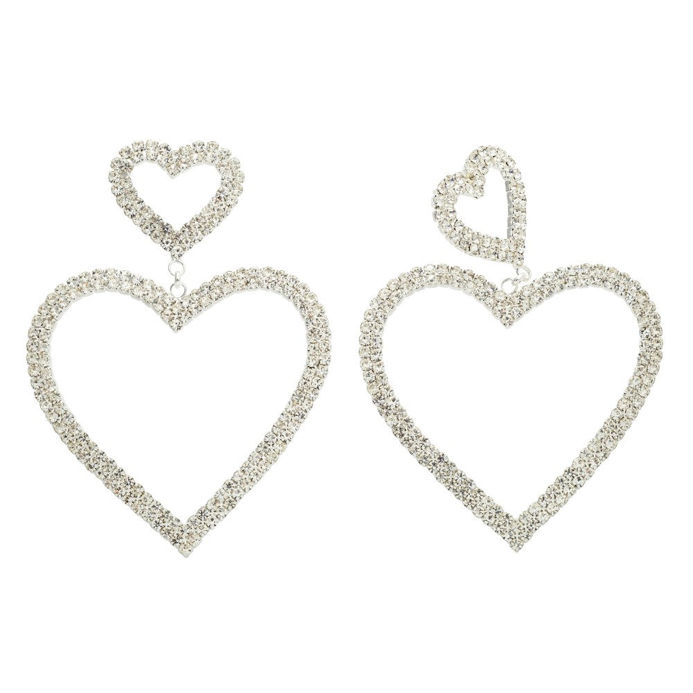 Crystal Avenue Double Rhinestone Heart Drop Earrings