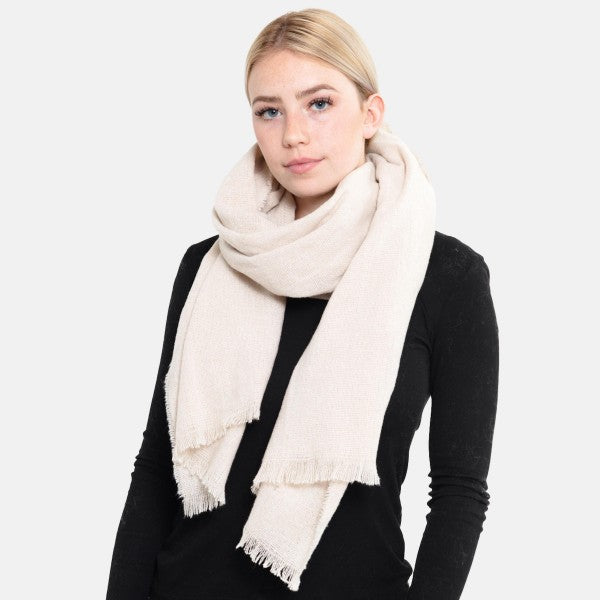 Solid Waffle Knit Oblong Scarf