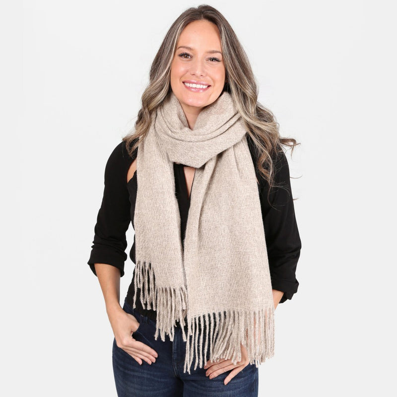 Solid Color Oblong Scarf  with Fringe Tassel Trim