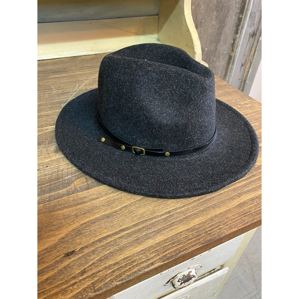 Reba Fedora Hat With Leather Belt