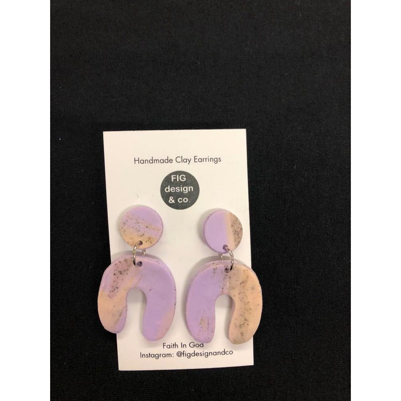 Small Handmade Clay Earrings U-shape Dangles