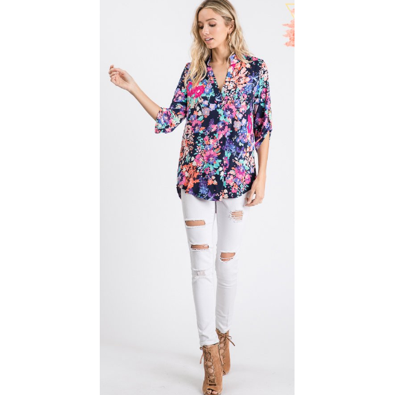 Tenley Floral Shirt with Mandarin Collar Blouse