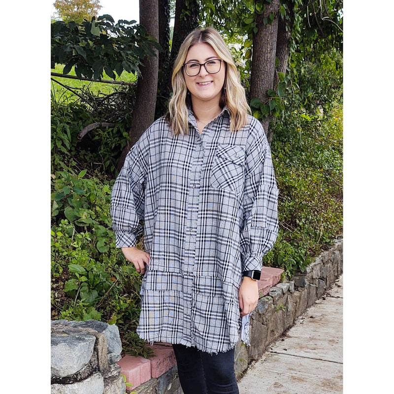 Toni Plaid Oversized Shirt Dress
