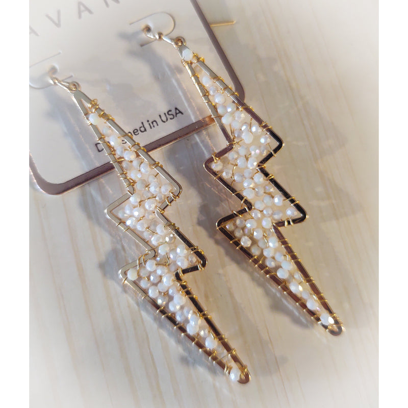 Avant Beaded Lightening Bolt Earrings