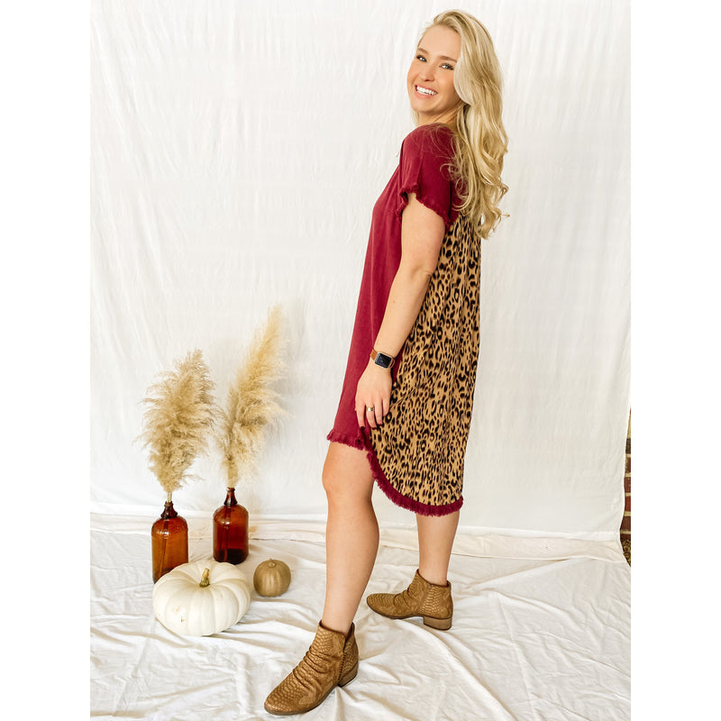 Finley Short Sleeve Animal Print Back High Low Dress