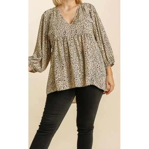 LeAnna Animal Print V-Neck Smocked Babydoll Top