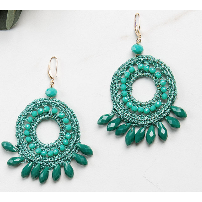 Boho Macrame Turquoise Earrings
