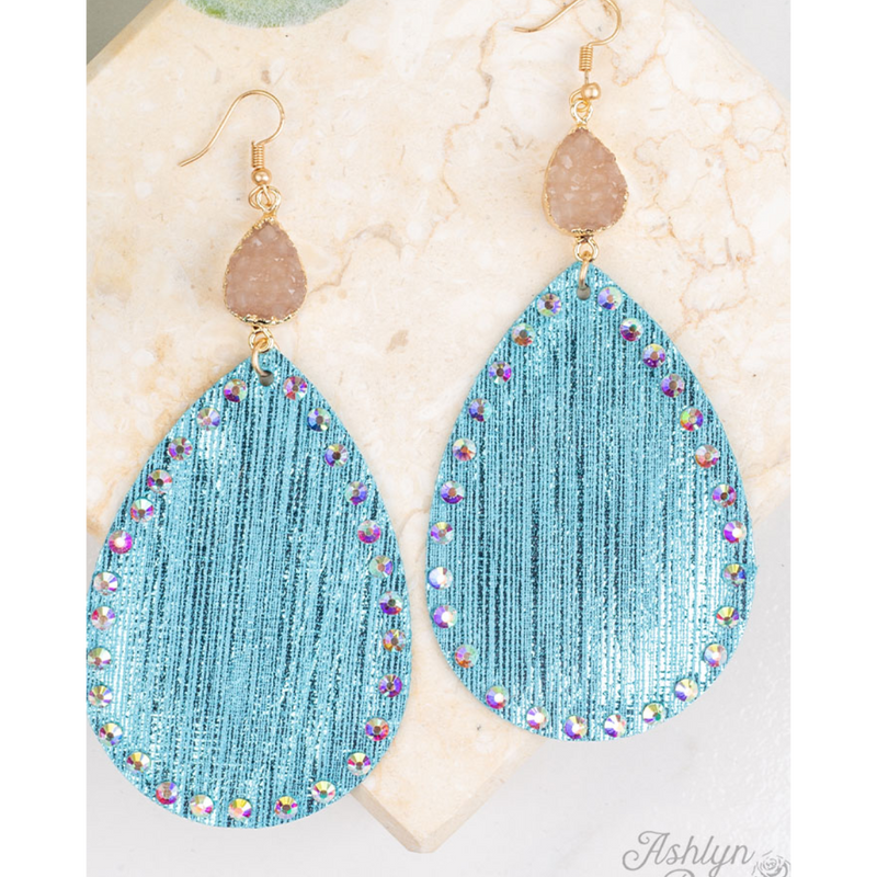 Tiffany Blue Fabric Pendant with Druzy Earrings