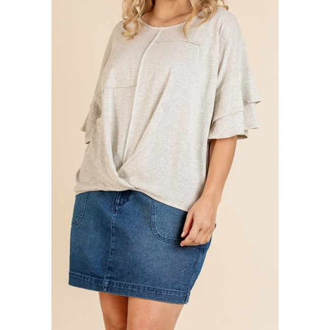 Layla Layered Sleeve Pintuck Front Tee