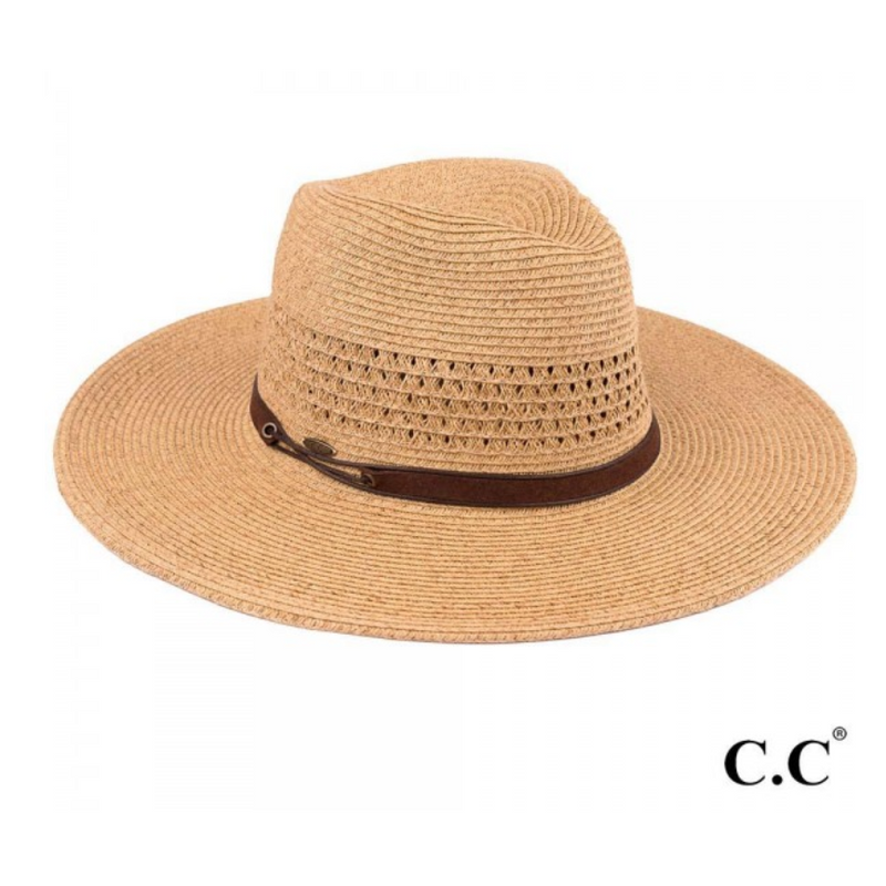Wide Brim Panama Hat with Faux Leather String Band