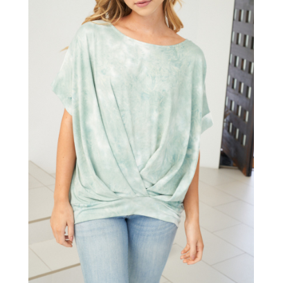 Tia Soft Tie Dye Knit Tee Top with Permanent Twist and Fitted Waist