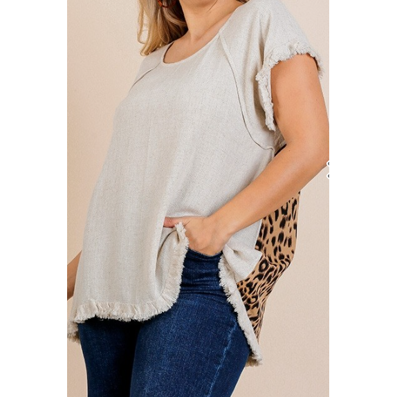 Tessa Round Neck Top with Animal Print Scoop Back