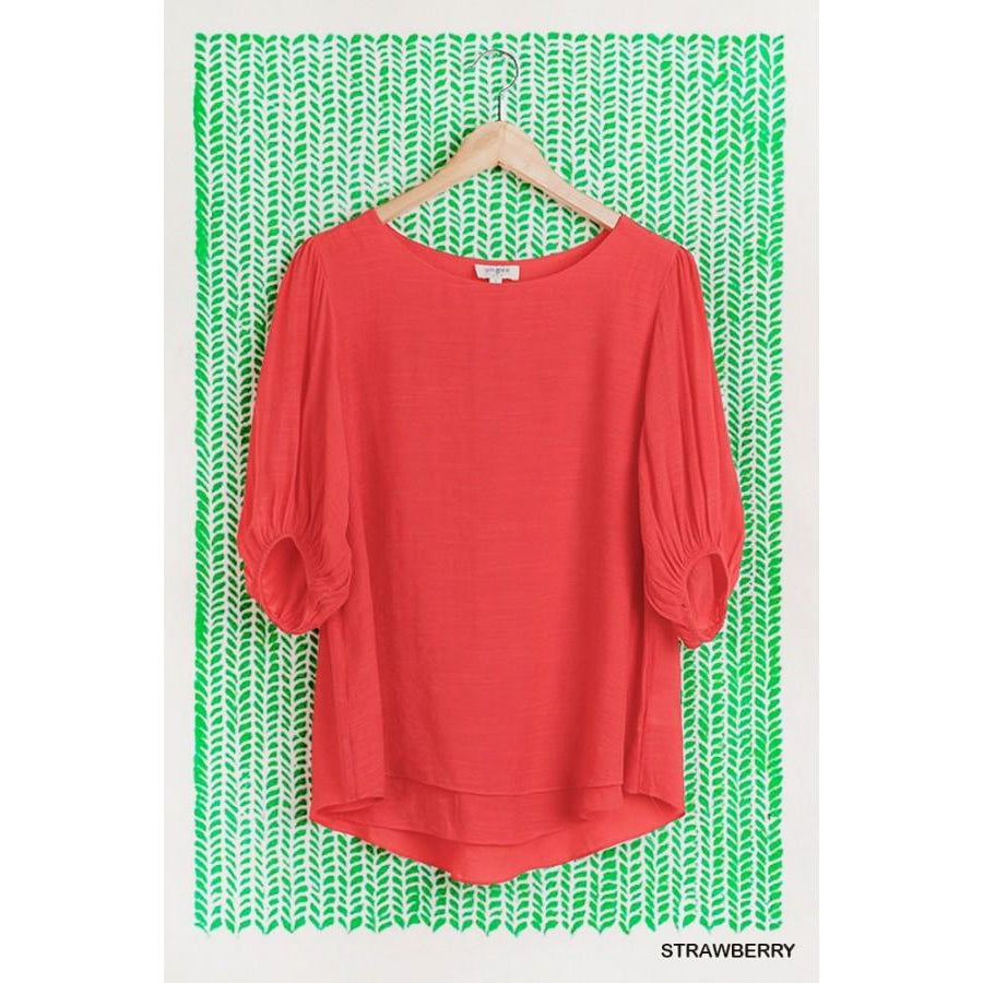 Payton Half Balloon Sleeve Layered Scoop Hem Round Neck Top