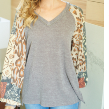 Brielle V-neck Knit Top With Puff Sleeves