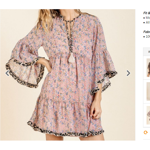 Nala Sheer Floral And Animal Print Bell Sleeve Ruffle Dress