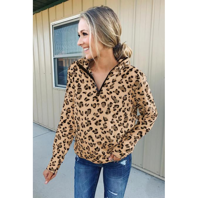 Sabra Warm Quarter Zip Leopard Sweatshirt