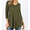 Coraline  3/4 Sleeve Vneck Top