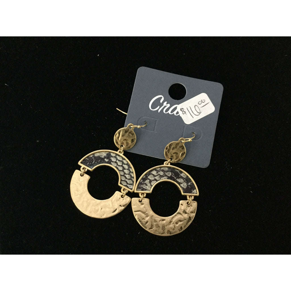 Crave Snake/Gold Circle Earrings