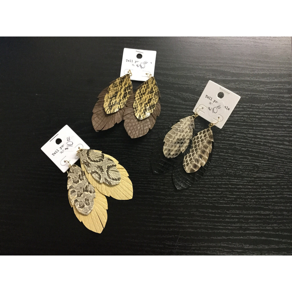 Tell Your Tale Snake Print Layered Feather Earrings