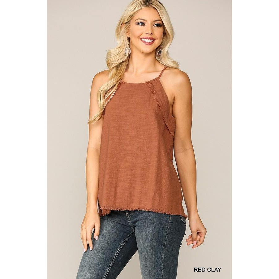 Katy Solid Frayed Hem Cami Top with Back Keyhole