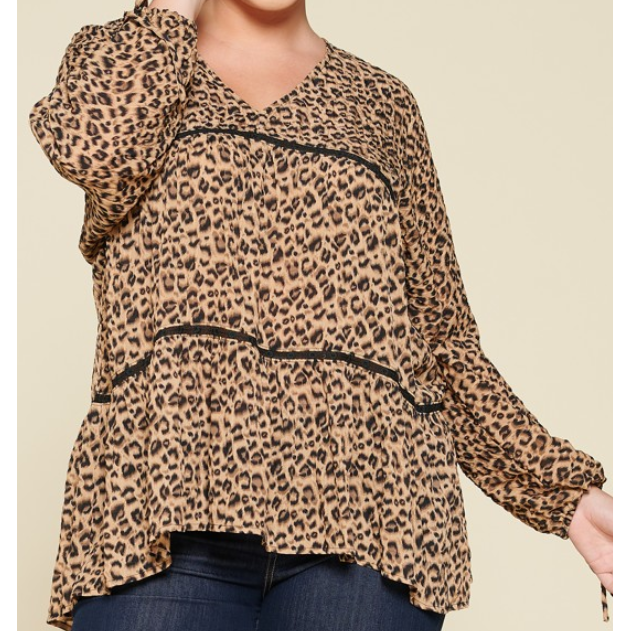 Lukasey Leopard Printed Tiered Blouse