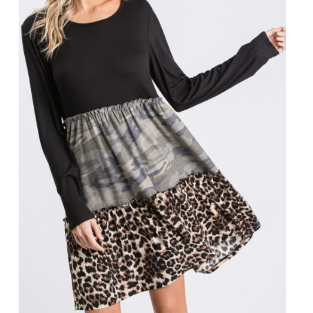 Linleigh Long Sleeve Color Block Dress W/ Leopard & Camo Detail