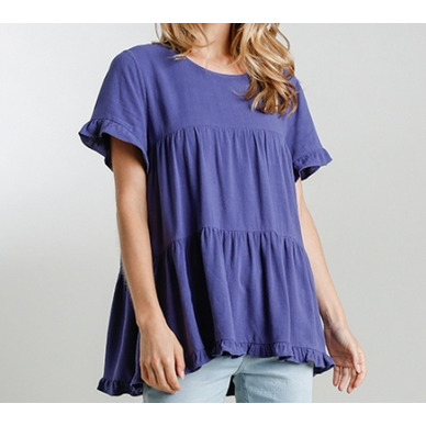 Madison Round Neck Short Sleeve Tiered Top