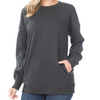 Mavy Plus Long Sleeve Round Neck Sweat Shirt With Pockets
