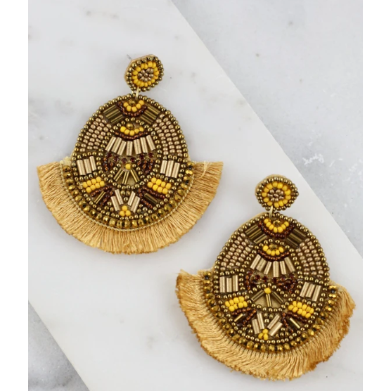 Timley Oval Beaded Post Earring With Fringe Mustard