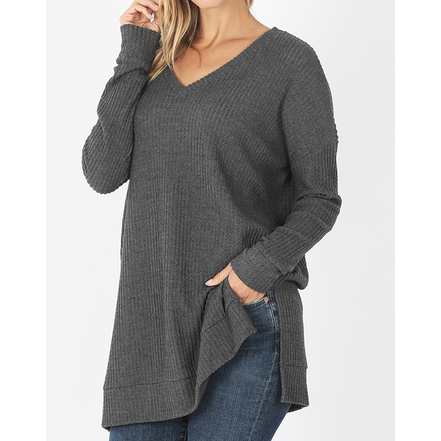 Paelynn Brushed Thermal Waffle V-neck Sweater