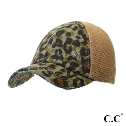 Leopard Print Distessed Ponytail Hat