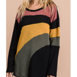 Shania Waffle Knit Color Block Top