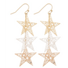 Tell Your Tale Star Dangle Etched Earrings