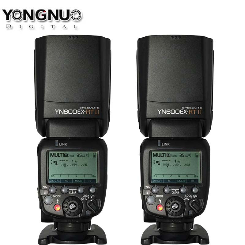 Hot 2PCS YONGNUO YN600EX-RT II 2.4G Wireless HSS 1/8000s Master Flash Speedlite for Canon Radio Trigger System as 600EX-RT