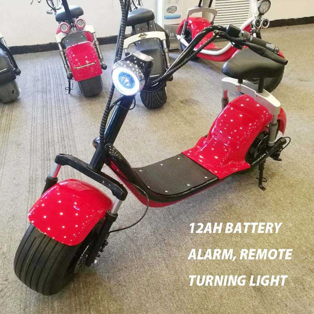 black frame harley electric scooter fat tire 1000W with suspension and turning light USB cellphone charing port
