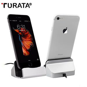 TURATA Charger Charging Dock Station Cellphone Desktop Docking USB Cable Sync Data For iPhone 5S 6S 7 Plus Android Type-C