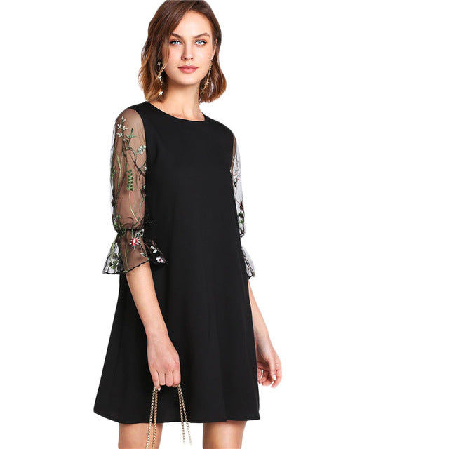 SHEIN Botanical Black Embroidery Mesh Dress Women Round Neck Flare Sleeve Casual Dress 2018 Spring 3/4 Sleeve Short Dress