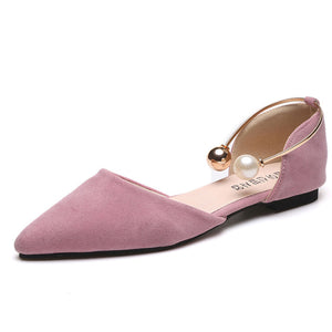 GAORUI 2017 New Women Fashion Shoes Casual Pearl Flats Pointed Toe Suede loafers flats Comfortable Shallow Mouth Single Shoe