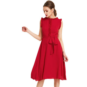 SHEIN Red Frill Self Belted Dress Women Round Neck Sleeveless Zipper High Waist Plain Dress 2018 New Elegant Chiffon Dress